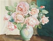 Sale 8755A - Lot 5083 - Artist Unknown (C20th) - Still Life Roses in a Porcelain Vase 36 x 46cm