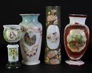 Sale 8989F - Lot 675 - Set of four handpainted milk glass vases, some with classical scenes (tallest height 30cm, some chips)