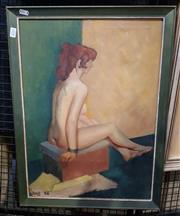 Sale 9036 - Lot 2031 - Artist Unknown Seated Nude in Studio 1958 oil on canvas 61 x 46cm signed and dated lower left