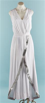 Sale 9090F - Lot 138 - A HUNT NO MORE MAXI DRESS; in white with V neck and geometric pattern to front, size 6