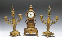 Sale 9093 - Lot 90 - Art Nouveau Clock Garniture (H:32cm) (some Losses)