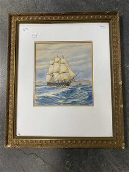 Sale 9159 - Lot 2076 - John Charles Fowell Tallship 1932 watercolour 58 x 49cm (frame) signed and dated lower left -