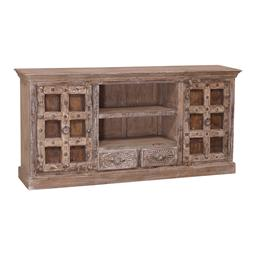Sale 9216S - Lot 33 - A rustic timber sideboard featuring antique Indian doors and carved drawers, Height 94cm x Width 193cm x Depth 39cm