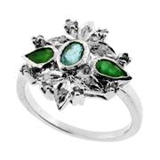 Sale 8060B - Lot 324 - A STERLING SILVER CLUSTER RING; set with emeralds and single cut diamonds. Size Q.