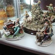 Sale 8231 - Lot 57 - Capodimonte Figure Group Of Boys Riding Pig With Others Inc Elderly Man (3)