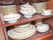 Sale 8470H - Lot 46 - An extensive Royal Doulton cream and gilt dinner setting for 18 including serving dishes, tureens, oval platters, dishes etc