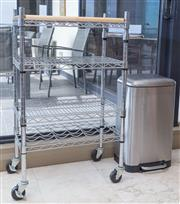 Sale 8593A - Lot 71 - A metal serving trolley, together with a stainless steel pedal bin