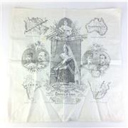 Sale 8793 - Lot 25 - Longest Reign Victoria 1890s, scarf (59 x 57cm) illustrating her many possessions including Australia!