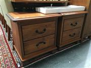Sale 8851 - Lot 1030 - Pair of Timber Two Drawer Bedsides