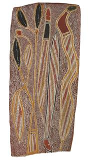 Sale 8862A - Lot 599 - Tom Djawa - Rocky Python at the waterhole eating dood in the Dreamtime 65 x 31cm
