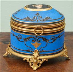 Sale 9120H - Lot 311 - A French porcelain casket with portrait hinged lid and blue ground, opening to reveal red glass perfume bottles, marked to base. I D...