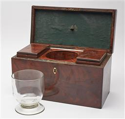 Sale 9135H - Lot 143 - A late Georgian tea caddy with a well fitted interior, including two removable hinged boxes and a central glass bowl, height 17, wid...