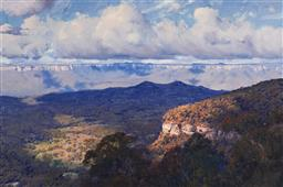Sale 9141 - Lot 518 - Warwick Fuller (1948 - ) Capertee Valley Panorama, 1989 oil on canvas 92 x 137 cm (frame: 111 x 156 x 8 cm) signed lower right