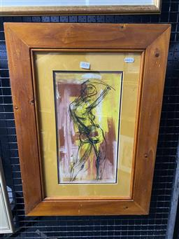 Sale 9159 - Lot 2028 - Woodger Figure mixed media on card, 60 x 42cm (frame) signed lower right -