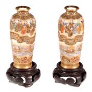 Sale 8000 - Lot 56 - A fine pair of Meiji Satsuma miniature vases with river scene and processional figures, signed to base