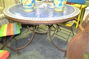 Sale 8284 - Lot 1047 - Garden Table with Mosaic Top and Cast Iron Base