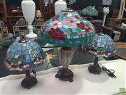 Sale 8648C - Lot 1042 - Pair of Leadlight Table Lamps and Another (3)