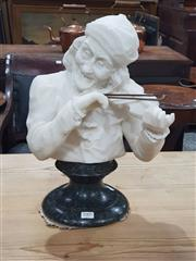 Sale 8714 - Lot 1005 - Alabaster Bust of a Man Playing the Violin, on green marble socle (brass violin in office)