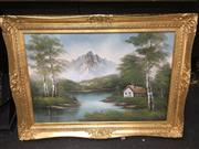 Sale 8720 - Lot 2060 - Artist Unknown - Cottage and Mountainscape acrylic on canvas on board, 80 x 111cm, signed lower right