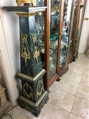 Sale 8730B - Lot 16 - Pair of Marble Pedestals with Gilt Brass Decorations H: 135cm