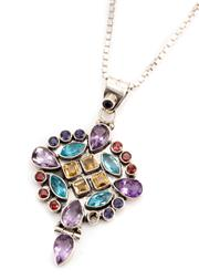 Sale 8899 - Lot 312 - A SILVER GEMSET PENDANT NECKLACE; 35 x 60mm drop pendant set with amethysts, blue topaz, citrine, garnets and iolite (one missing) o...