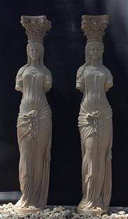 Sale 9015G - Lot 7 - Pair of Impressive Carved Pink Marble Caryatid Columns Depicting Female Figures .Each Column Consist Of 2 Pieces (Capital Top,Column...