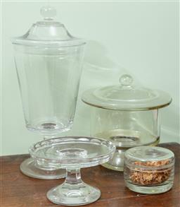 Sale 9120H - Lot 312 - A group of Georgian and later glass table wares including a Tazza, apothecary vases and a powder dish, Height of tallest 40cm