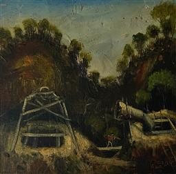 Sale 9123J - Lot 151 - Pro Hart Working the Mine oil on board 29x30cm signed lower right