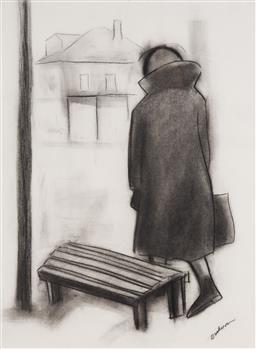 Sale 9161 - Lot 555 - ROBERT DICKERSON (1924 - 2015) In The Hospice charcoal 76 x 54 cm (frame: 103 x 84 x 2 cm) signed lower right, titled verso