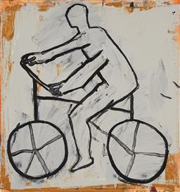 Sale 9161 - Lot 532 - GRAHAM FRANSELLA (1950 - ) Figure on Bicycle oil on linen 38.5 x 36 cm signed and titled verso; Beaver Galleries label verso