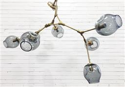 Sale 9151 - Lot 1042 - Brass seven articulated arm molecule pendant light fitting by Incandescent Luminaire (h:95 l:170 w:110cm)