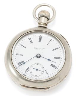 Sale 9164J - Lot 370 - A WALTHAM OPEN FACE POCKET WATCH; white dial, Roman numerals, subsidiary seconds, full plate movement, nickle silver case diam. 58mm...