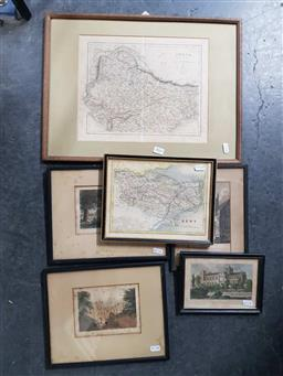 Sale 9172 - Lot 2062 - A group of six assorted engravings including English landmarks and maps of Kent & India, largest: 37 x 49 cm -