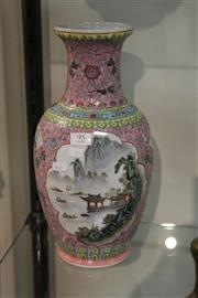 Sale 8096 - Lot 95 - Chinese Polychrome Vase with Landscape Panels