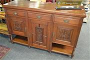 Sale 8115 - Lot 1256 - Finely Carved Blackwood Sideboard w 3 Drawers above 3 doors