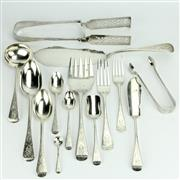 Sale 8252 - Lot 48 - English Hallmarked Sterling Silver Victorian Cutlery Setting