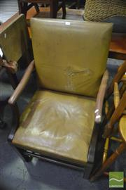 Sale 8371 - Lot 1065 - Pair of Leather High Back Carver Chairs with Studded Trim ( damage to upholstery)