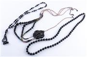 Sale 8550F - Lot 235 - Three necklaces including a Mimco resin example, together with two other French jet necklaces.