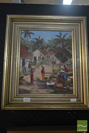 Sale 8525 - Lot 2029 - Meg Meares - Village Scene 27.5 x 22.5cm