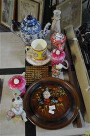 Sale 8563T - Lot 2245 - Collection of Oriental Wares incl. Tea Cups, Figures, Tea Pot, Container, Cased Metal Dishes