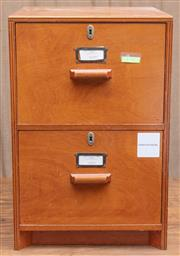 Sale 8984H - Lot 72 - A two door timber filing unit constructed from marine plywood. Height 68 x w 45 x d 50cm