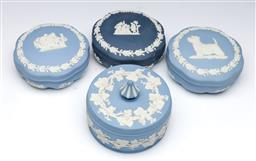 Sale 9098 - Lot 258 - Group of four Wedgwood Jasperware lidded containers (largest Dia12.5cm)