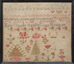 Sale 9120H - Lot 313 - A tapestry sampler by Mary Cleasby Aged 10, Cragg House 1831. Frame size 28 x 32cm