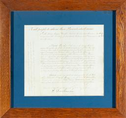 Sale 9130E - Lot 44 - A framed letter entitles to all people whom these presents shall come, frame size 43cm x 46.5cm