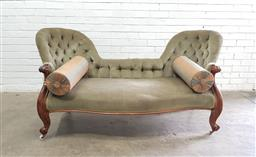Sale 9126 - Lot 1120 - Victorian Walnut Double Ended Chaise Longue, upholstered in buttoned green velvet & raised on cabriole legs (h84 x w170 x d66cm)