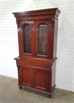 Sale 9162 - Lot 1002A - Victorian bookcase, with two arched glass panel doors, with moulded drawer & two timber panel doors, on turned feet (h227 x w117 x d...