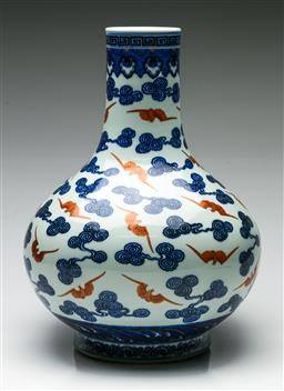 Sale 9192 - Lot 19 - Chinese Vase Decorated With Bats and Scrolled Clouds (H:35cm)