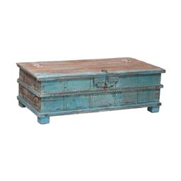Sale 9216S - Lot 37 - A blue painted carved teak chest/coffee table, Height 49cm x Width 143cm x Depth 80cm