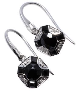 Sale 9246J - Lot 387 - A PAIR OF DECO STYLE ONYX AND DIAMOND EARRINGS; centring round cut onyx to carre cut onyx and round brilliant cut diamond surrounds...