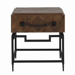 Sale 9245T - Lot 23 - A reclaimed Asian design timber side table, with parquet style drawer fronts, with iron base and handles. Dimensions: H 63 x W 57 x...